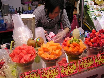 高雄 六合夜市 フルーツかき氷